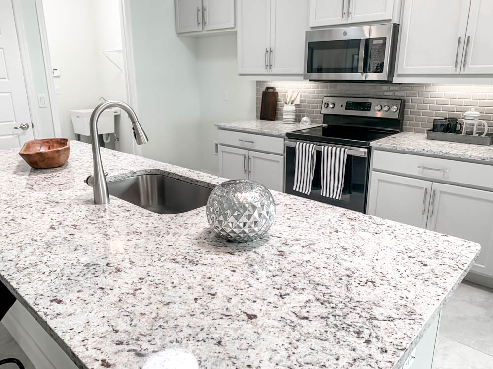 white granite and stone countertops in kitchen