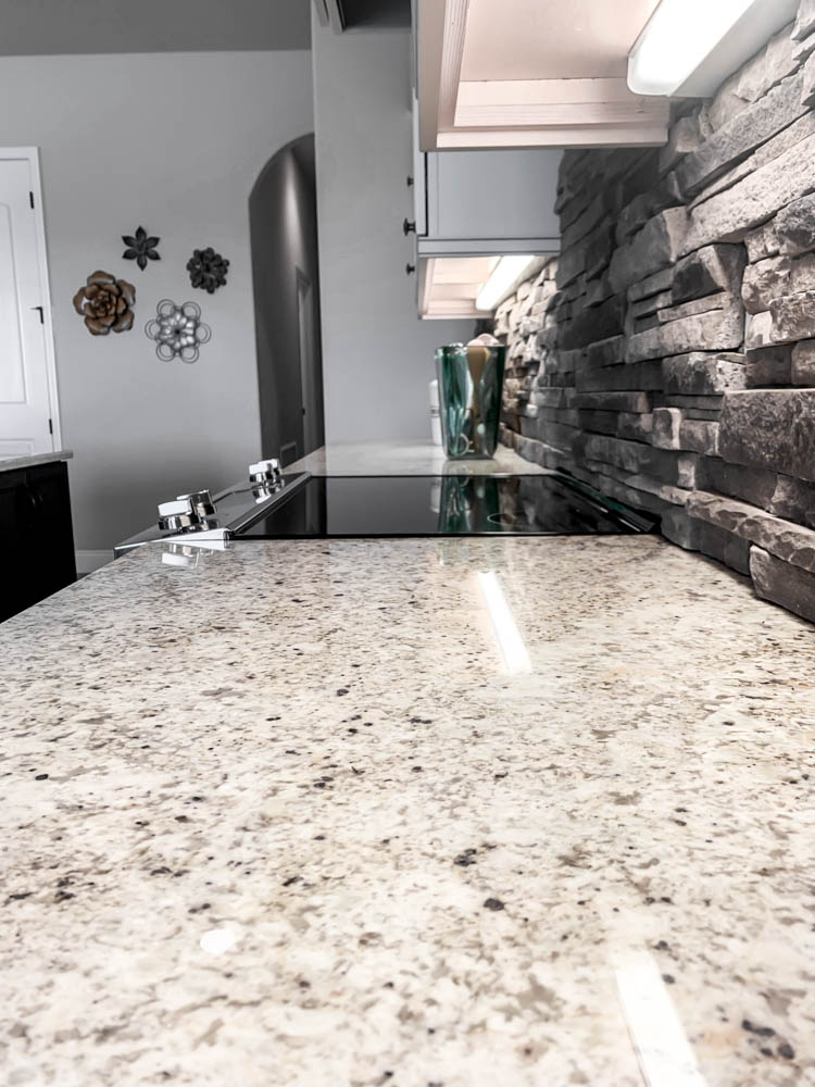 Kitchen with granite and stone