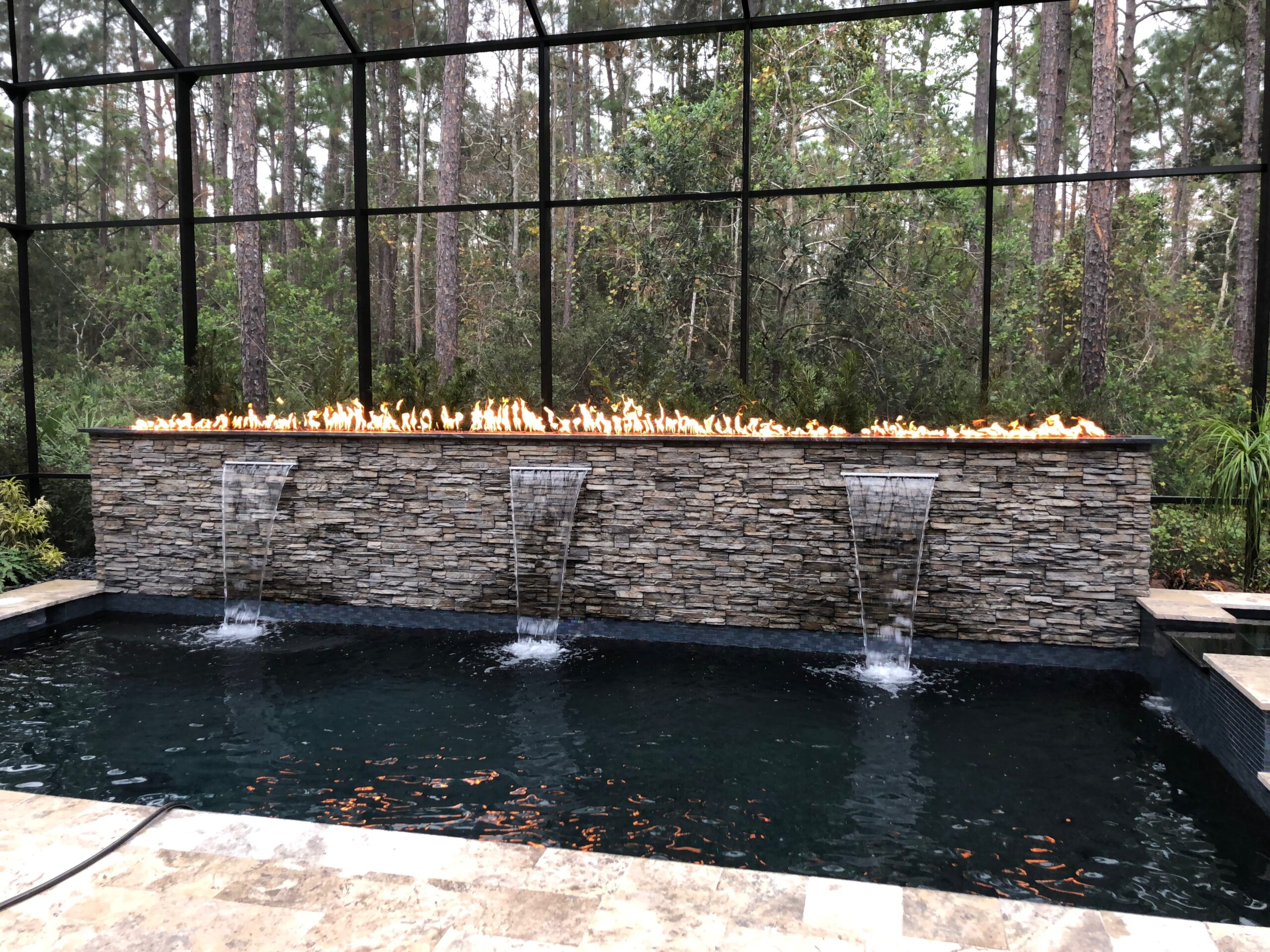 Fire and waterworks with granite